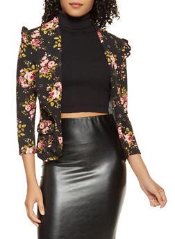 Ruffle Trim Floral Blazer - 3031038343363