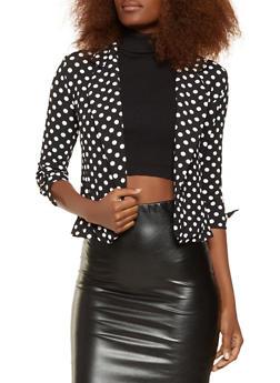 Printed Tie Sleeve Blazer - BLACK/WHITE - 3031038343364