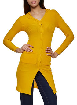 Waffle Knit Hooded Duster - 3031038344201