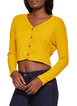 Waffle Knit Cropped Cardigan - 3031038344206
