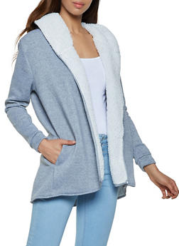 Hooded Sherpa Lined Cardigan - 3031038344410