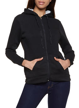 Hooded Sherpa Lined Sweatshirt - 3031038344411