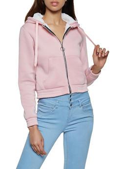 Sherpa Lined Zip Front Sweatshirt - 3031038344413