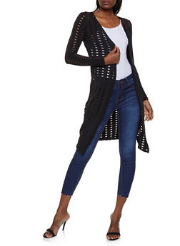 Laser Cut Long Sleeve Duster - 3031038349131