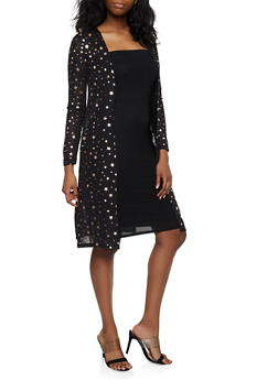 Foil Star Print Knit Duster - 3031038349388
