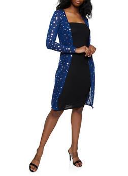 Foil Star Print Knit Duster - 3031038349388