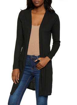 Rib Knit Side Slit Cardigan - 3031054260383