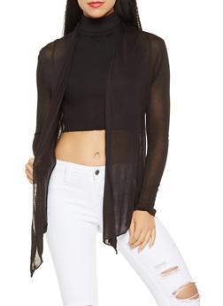 Open Front Lightweight Cardigan - BLACK - 3031054261614