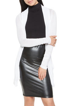 Open Front Lightweight Cardigan - WHITE - 3031054261614