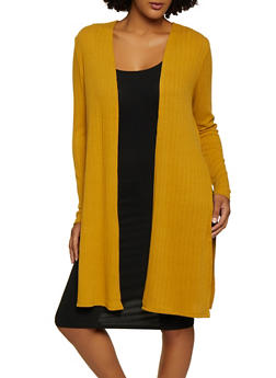 Side Slit Long Sleeve Duster - 3031054261786