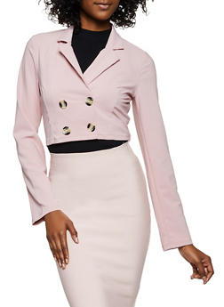 Double Breasted Cropped Crepe Blazer - 3031058750804
