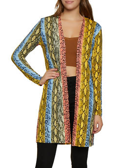 Snake Print Open Front Cardigan - 3031058751807