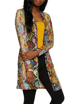 Soft Knit Snake Print Duster - 3031058751808