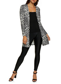 Soft Knit Animal Print Duster - 3031058751809