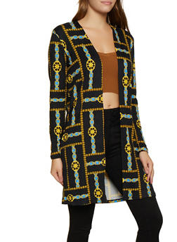 Soft Knit Chain Print Duster - 3031058751811