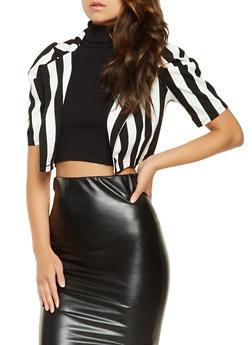 Striped Cropped Blazer - BLACK/WHITE - 3031058757579