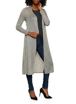 Long Sleeve Ribbed Knit Duster - 3031074292444