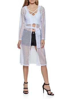Hooded Perforated Duster - 3031074293083