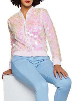 Mesh Sequin Bomber Jacket - 3031074293727