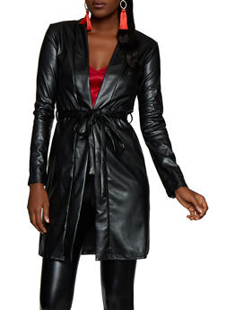 Belted Faux Leather Trench Coat - 3031074294154