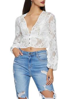 Lace Button Front Crop Top - 3031074295027