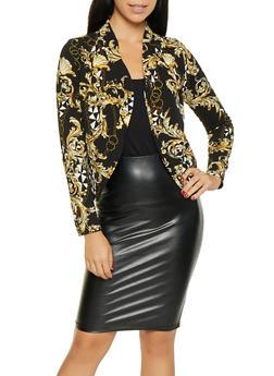 Printed Textured Knit Blazer - BLACK - 3031074295052