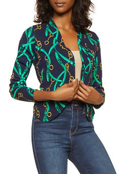 Printed Textured Knit Blazer - 3031074295052