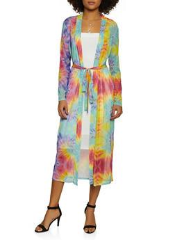 Belted Tie Dye Mesh Duster - 3031074297170