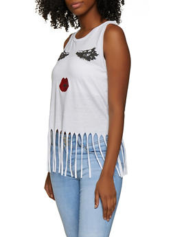 Face Graphic Fringe Tank Top - 3032033873321