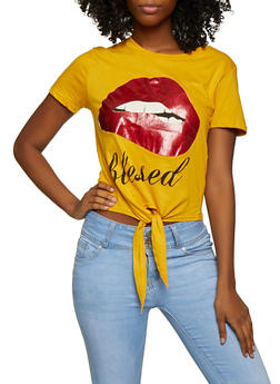 Slashed Back Blessed Lip Graphic Tee - 3032033873323