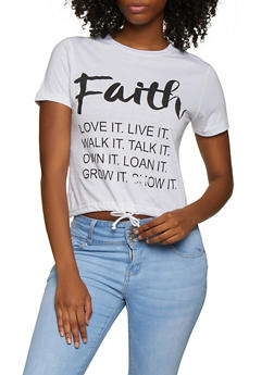 Faith Drawstring Hem Tee - 3032033873329