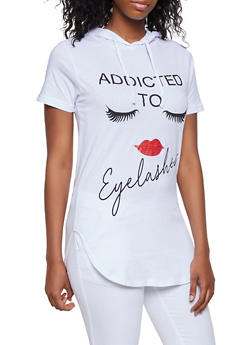 Addicted to Eyelashes Hooded Top - 3032033873671