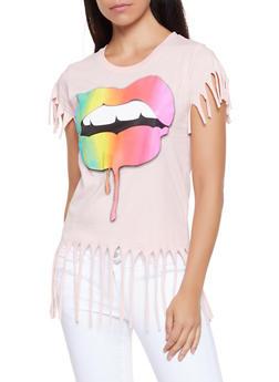 Rainbow Lip Fringe Tee - 3032033876612