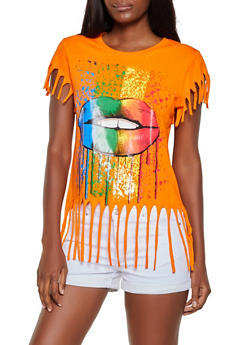 Paint Splatter Lip Graphic Tee - 3032033876618