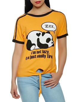 Panda Graphic Tie Front Tee - 3032033879155