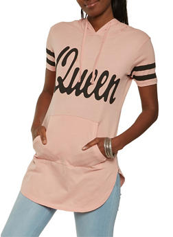 Queen Graphic Hooded Tunic Top - 3032033879215