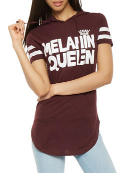 Melanin Queen Graphic Hooded Tunic Top - 3032033879304