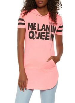 Melanin Queen Graphic Hooded Tunic Top - 3032033879304
