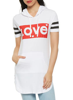 Love Graphic Hooded Tunic - 3032033879410