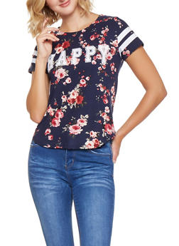 Happy Graphic Floral Tee - 3032058751497