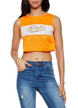 Girls Graphic Jersey Mesh Crop Top - 3032058751578