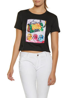 Sequin Perfume Patch Graphic Tee - 3032058751837