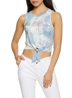 Iridescent CALI Tie Dye Crop Top - 3032058752762