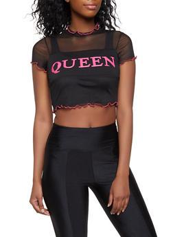 Queen 3D Graphic Mesh Crop Top - 3032058753667