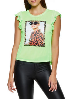 Mesh Cap Sleeve Patch Graphic Top - 3032058753692