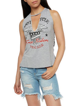 Sleeveless Graphic Top with Fishnet Back - 3032067330111