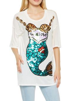 Sequin Mermaid Graphic Mesh Tunic Top - 3032074293156