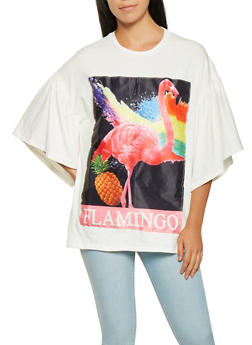 Flamingo Graphic Oversized Tee - 3032074293158