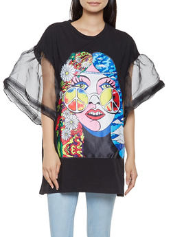 Hippie Graphic Tunic Tee - 3032074293159