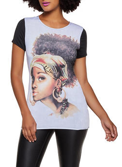 Face Graphic Color Block Tee - 3032074297159